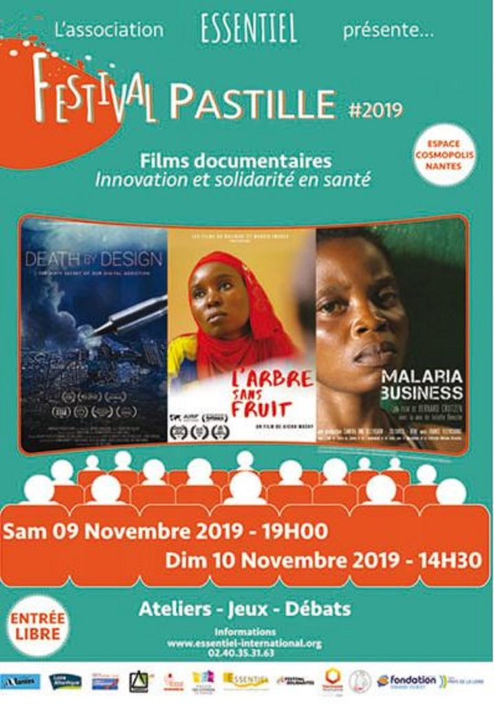 Affiche du Festival Pastille 2019. Festival de Films documentaires sur l'international : Innovation et Solidarité en Santé.