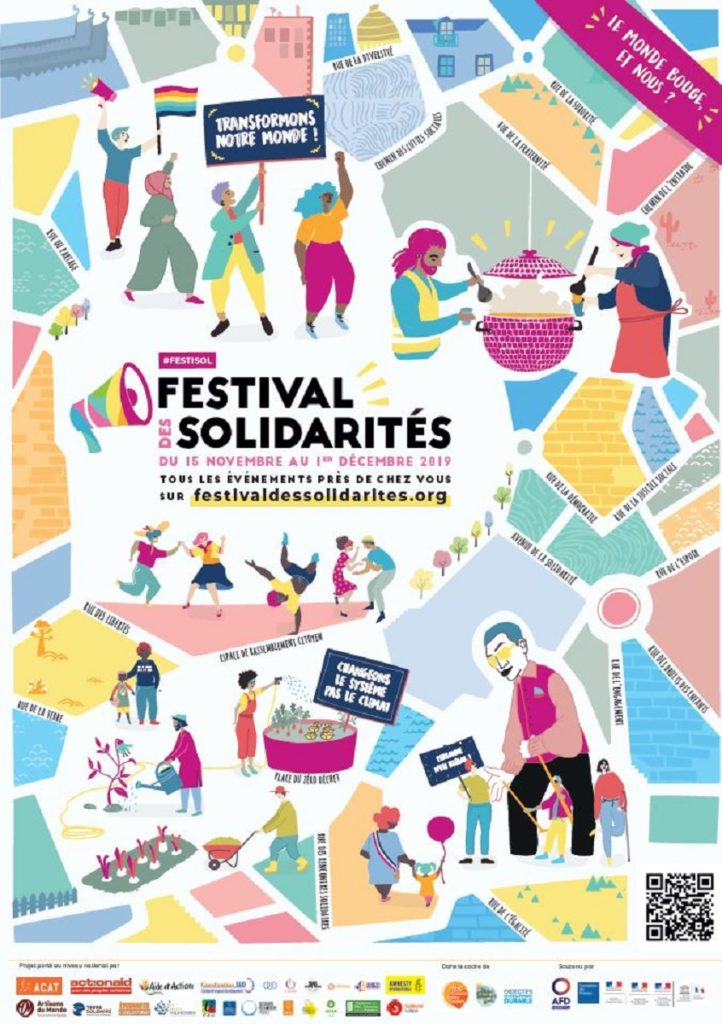 Affiche 2019 du Festival des Solidarités. Festival de promotion de solidarité au niveau local, national et international.