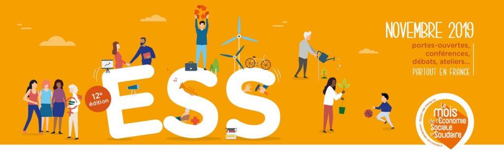 Affiche du Mois de l'ESS pour l'année 2019. L'Economie sociale et solidaire est ainsi mise en valeur à travers de nombreux événements.