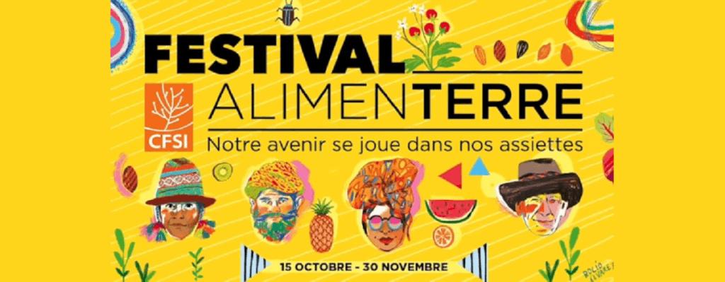 Affiche 2019 du Festival ALIMENTERRE : notre avenir se joue dans nos assiettes. Le Festival international sensibilise à la consommation et production durables.